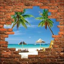 Sticker mural trompe l'oeil mur de pierre palmiers