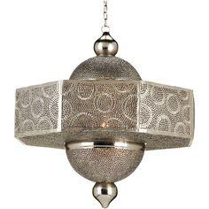 Ornate Pierced Metal Filigree Moroccan Style 1 Light Pendant ($2,740) found on…