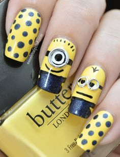 These 20 adorable despicable me minions nail art designs are a good example of how cute you can get your nails.