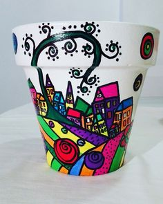 Macetas Pintadas A Mano - $ 160,00 Plant Painting, Dot Painting, Stone Painting, Painted Flower Pots, Painted Pots, Mosaic Planters, African Crafts, Clay Pot Crafts, Christmas Crafts For Gifts