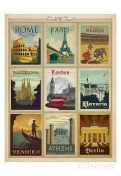 Weltreise, mehrere Drucke I Kunstdrucke von Anderson Design Group bei AllPosters.de