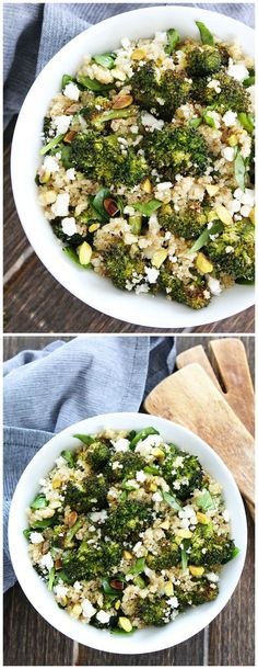 Roasted Broccoli Quinoa Salad Recipe on twopeasandtheirpod.com This easy and healthy quinoa salad is great as a side dish or main dish. It is a favorite at our house!