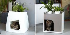 Maceteros que incluyen casita para gatos