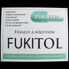 FUKITOL Prescription Drug Medicine Funny Work Sign Doctor's Office Medical Decor | eBay