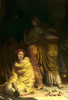 The foolish virgins, 'Too late, ye cannot enter now,' Frank Dicksee