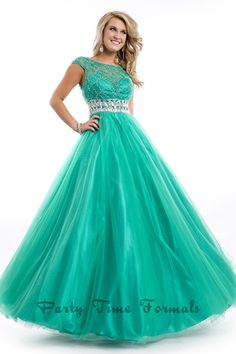 Cap sleeve ballgown with jeweled waistband and open back from Party Time Formals #prom #ipaprom