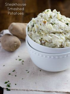 Steakhouse Smashed Potatoes. So creamy and delicious, they will compete with any steakhouse's mashed potatoes! ohsweetbasil.com