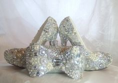 Cinderellas Wish... crystal, glass and pearl covered high heels. Wedding bespoke custom design