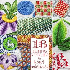 16 Filling Stitches for Hand Embroidery via Mary Corbet
