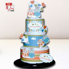 Wise Ol' Owls for Boys and Girls Diaper Cake Template