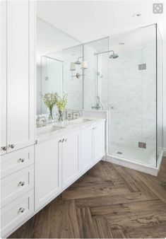 orc-bright-white-master-bathroom-makeover-remington-avenue - The world's most private search engine Wood Tile Shower, Wood Floor Bathroom, Shower Floor, Bathroom Layout, Bathroom Interior, Modern Bathroom, Bathroom Marble, Bathroom Ideas, Shower Mirror
