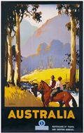 vintage poster, Australia (couple on horseback)