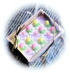 48 Decorated Sugar Cubes - Mothers Day - Decorated Sugar Cubes - Roses And Teacups