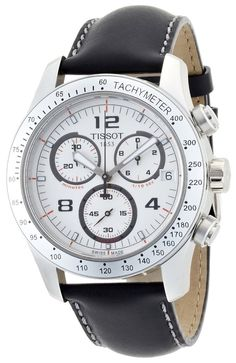 Men Watches : Tissot Men's T0394171603700 V8 Chronograph White Chronograph Dial Watch