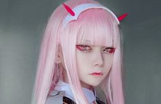 Anime Cosplay Costumes, Cosplay Wigs, Asian Cosplay, Wigs With Bangs, Zero Two, Darling In The Franxx, Wig Styles, Carnival, Party Dress