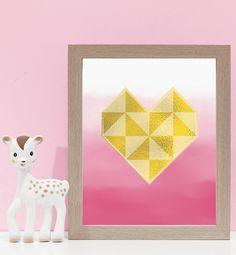 Geometric Love Heart on Pink. Kids wall art and wall prints.  Shop Love JK for nursery decor and nursery ideas.