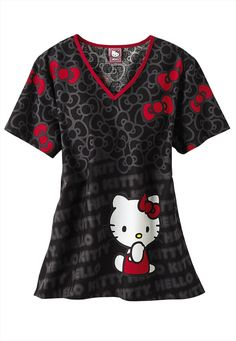 Cherokee Tooniforms Hello Kitty Cute print scrub top. - Scrubs and Beyond