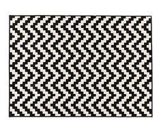 Alfombra de polipropileno Shiraz, blanco y negro - 120x170 cm