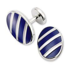 Navy oval stripe enamel cufflinks - Charles Tyrwhitt