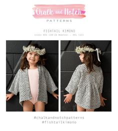 The Fishtail Kimono sewing pattern by Chalk and Notch is a loose-fitting garment with a gathered back yoke and dropped hem detail. Sewing Patterns For Kids, Sewing For Kids, Do It Yourself Mode, Kimono Sewing Pattern, Hoodie Pattern, Diy Couture, Little Girl Fashion, Fishtail, Pretty Outfits