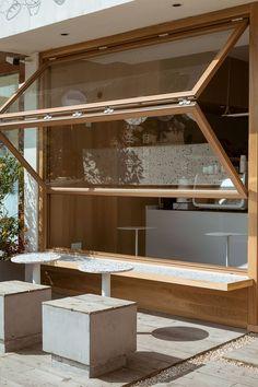 RE x SUGAR | CHINA ONDO Studio | Media - Photos and Videos - 2 | Archello Cafe Shop Design, Coffee Shop Interior Design, Bakery Design, Restaurant Interior Design, House Design, Coffee Cafe Interior, Small Cafe Design, Interior Shop, Window Design