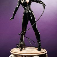 Selina Kyle is ready to crack the whip on the Catwoman Premium Format Figure, giving a playful look over shoulder, as if daring Batman to try and catch her. Looking Over Shoulder, Catwoman Cosplay, Fitted Jumpsuit, Gotham City, Batman, Clay, Sculpture, Statue, Night