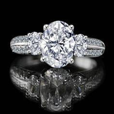2.50 CT. Oval Classic three stone engagement/wedding ring Simulated Diamond - Diamond Veneer. 635R3232-8 - Diamond Veneer
