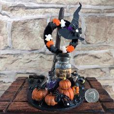 Halloween Diorama Miniature Halloween UK Halloween | Etsy Halloween Uk, Halloween Diorama, Halloween Scarecrow, Halloween Displays, Halloween Fashion, Halloween Crafts, Halloween Decorations, Hobbies For Women, Air Dry Clay