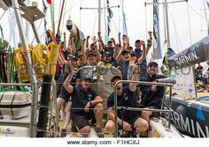 Download this stock image: Clipper crew members aboard the yacht Mission Performance - F1HCXJ from Alamy's library of millions of high resolution stock photos, Stock Photo, illustrations and vectors.