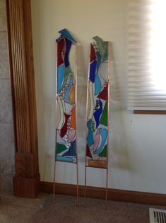 Stained glass yard art from scraps.
