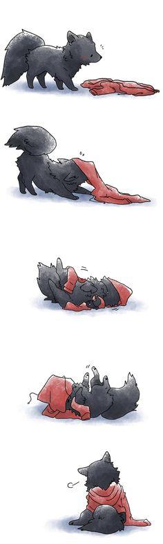 Wolf & Hoodie Art Print