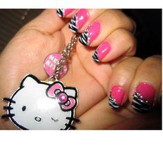 Cute Nail Designs For Girls - Nail Designs - Nail Art Solar Nail Designs, Zebra Nail Designs, Girls Nail Designs, Fingernail Designs, Pretty Nail Designs, Simple Nail Art Designs, Pretty Nail Art, Acrylic Nail Designs, Acrylic Nails
