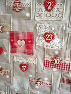 Items similar to Handmade Fabric Christmas Advent Calendar with Gift Pockets on Etsy - Items similar to Handmade Fabric Christmas Advent Calendar with Gift Pockets on Etsy Handmade Fabric Christmas Advent Calendar by TheLittleFabricStall Homemade Christmas, Diy Christmas Gifts, Christmas Projects, Christmas Holidays, Christmas Bunting, Christmas Sewing, Fabric Christmas Decorations, Christmas Fabric, Christmas Calendar