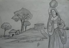 Image result for village woman sketch Woman Sketch, Woman Drawing, Drawing Drawing, Abstract Pencil Drawings, Pencil Art, Indian Drawing, Rangoli Patterns, Pencil Shading, Perspective Art