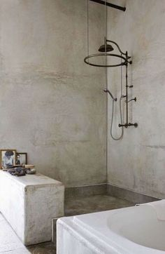 Bathroom decor for your master bathroom renovation. Learn bathroom organization, master bathroom decor ideas, master bathroom tile tips, bathroom paint colors, and much more. Steam Showers Bathroom, White Bathroom, Bathroom Flooring, Bathroom Faucets, Bathroom Interior, Modern Bathroom, Concrete Bathroom, Concrete Floor, Bathroom Ideas