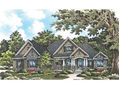 Craftsman House Plan with 2491 Square Feet and 4 Bedrooms from Dream Home Source   House Plan Code DHSW076418