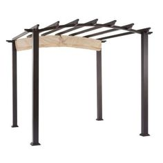Hampton Bay 9 ft. x 9 ft. Steel and Aluminum Arched Pergola with Retractable Canopy-GFM00469A - The Home Depot