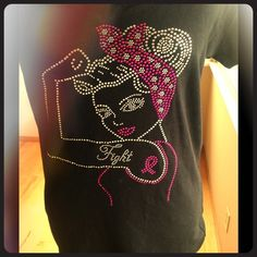 ᖴIGᕼT ᔕTᖇOᑎG Beautiful bling breast cancer awareness T-shirt in size extra large Miss Me Tops Tank Tops