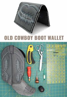 Awesome  Crafts for Men and Manly DIY Project Ideas Guys Love - Fun Gifts, Manly Decor, Games and Gear. Tutorials for Creative Projects to Make This Weekend | Wallet Out Of An Old Cowboy Boot  |  http://diyjoy.com/diy-projects-for-men-crafts
