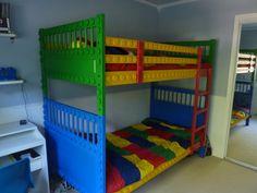 lego bed from simple Ikea bunk bed and dowel rod slices Cool Bunk Beds, Kids Bunk Beds, Loft Beds, Bedroom Themes, Kids Bedroom, Bedroom Ideas, Master Bedroom, Kids Rooms, Boy Bedrooms