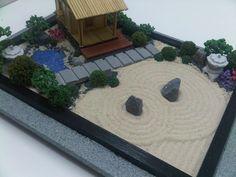 "A ""Tea House"" Miniature Zen Garden Design Concept by WallzArt Miniature Zen Garden, Mini Zen Garden, Garden Art, Miniature Gardens, Garden Ideas, Zen Garden Design, Landscape Design, Zen Gardens, Japanese Gardens"