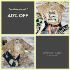 Fall is coming and it's time to clear out the old and make room for the new! SAVE 40% off our hand-made clothing and fabulous accessories. Shop items all weekend long! Remember, you can SAVE ALL WEEKEND! Be sure to use the super-secret code...well, it's not a secret, but it's a SUPER discount and it's a code...so it pretty much the same thing... Code: LABORDAY40 Boho Chic, Shabby Chic, Sweet Magnolia, Fall Is Coming, Super Secret, Secret Code, Business Organization, Made Clothing, Accessories Shop