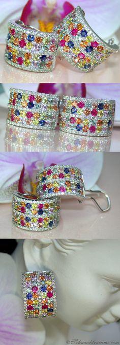 Pretty Multicolor Sapphire Diamond Earrings, 5,40 ct. WG14K - Visit: schmucktraeume.com Like: https://www.facebook.com/pages/Noble-Juwelen/150871984924926