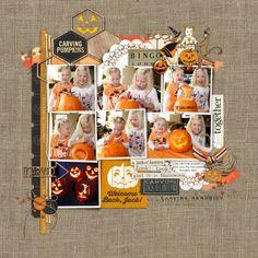 Halloween Carving Pumpkin October Scrapbook page from Lori at DesignerDigitals.com