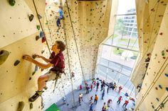 NL Architects added angular windows to the facade of this sports centre in Dordrecht, the Netherlands, to frame views of three climbing walls inside. Bouldering Gym, Sport Park, Youth Club, Youth Center, Sports Complex, Climbing Wall, Space Architecture, Activity Centers, Sports