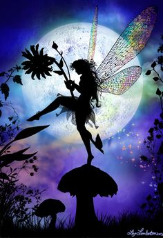 Painting idea. Silhouette of The flower fairy dancing on mushrooms and holding flowers in front of a huge moon with rainbow colored pastel dreamy clouds. Please also visit www.JustForYouPropheticArt.com for more colorful art you might like to pin. Thanks for looking!