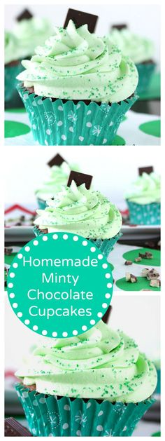 Homemade Minty Chocolate Cupcakes St Patty's Day #cupcakes #cupcakeideas #cupcakerecipes #food #yummy #sweet #delicious #cupcake