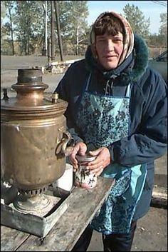 Woman and samovar