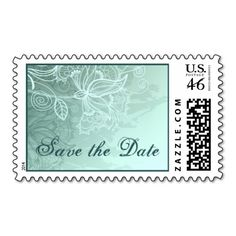 Vintage lace mint green wedding Save the Date Postage Stamp