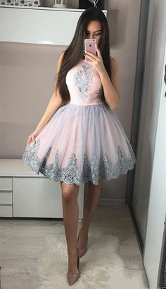 Cute A-Line Round Neck Knee-Length Pink Homecoming Dress with Appliques Short Prom Dresses Party Gown Homecoming Dresses A-Line, Prom Dresses Pink, Cute Prom Dresses, Prom Dresses Short, Prom Dress Short Homecoming Dresses Modest Homecoming Dresses, Hoco Dresses, Prom Party Dresses, Party Gowns, Quinceanera Dresses, Sexy Dresses, Cute Dresses, Pink Dresses, Pink And Grey Dress